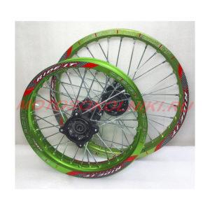 Колеса питбайк диски 14 и 17 радиус Комплект Зеленый